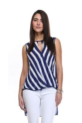 Striped High Low Top Keyhole Wrap Front Blouse 1