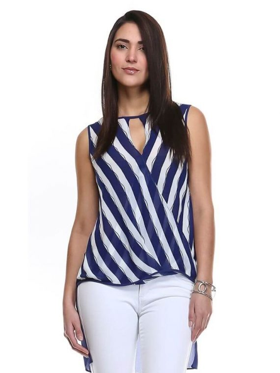 fed63b5166f Striped High Low Top Keyhole Wrap Front Blouse 1 ...