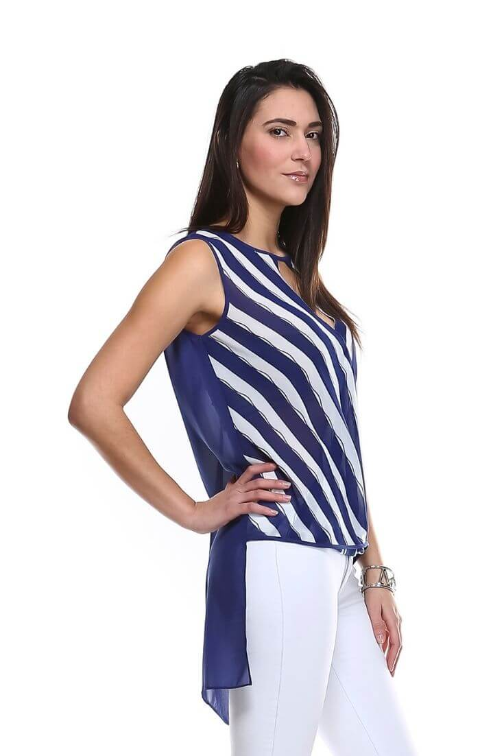 Striped High Low Top Keyhole Wrap Front Blouse