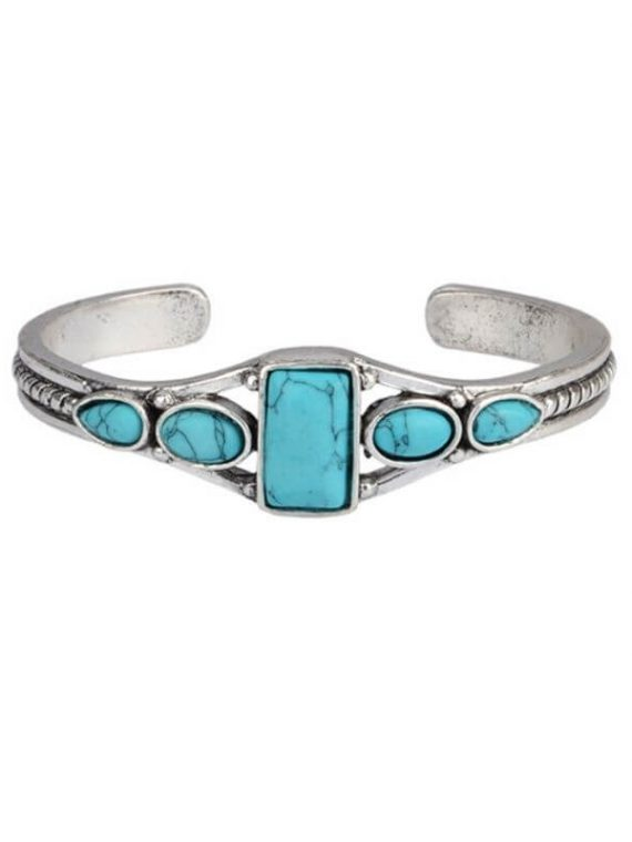 Turquoise Stone Cuff Bracelet Silver Tone
