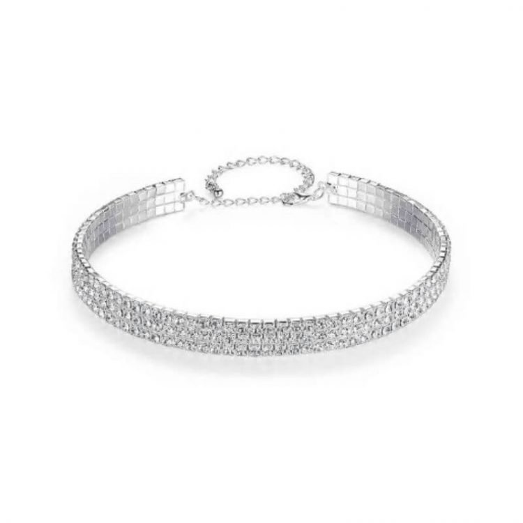 Crystal Choker Necklace Three Strand Silver Tone