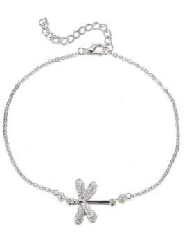 Dragonfly Charm Ankle Bracelet Silver Tone