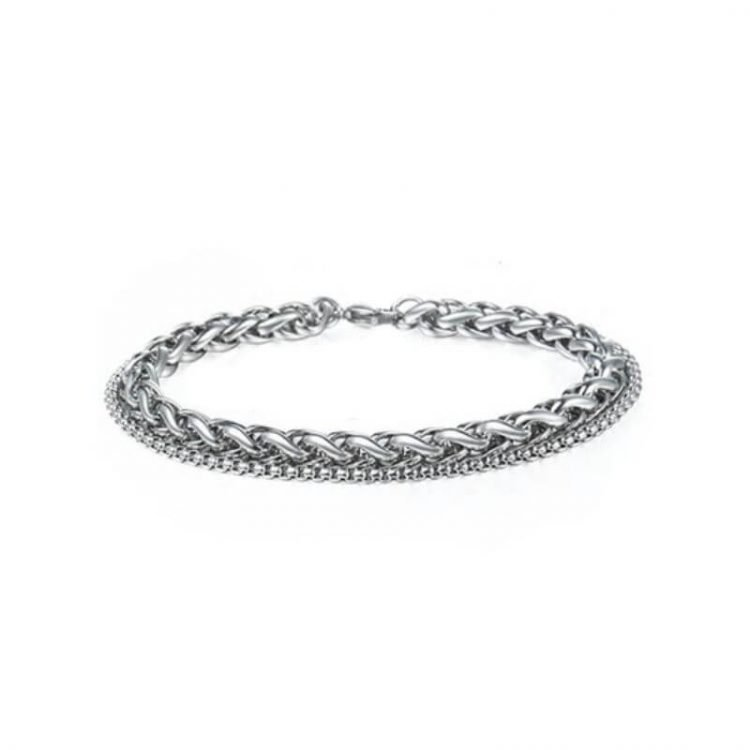 Mens Stainless Steel Link Bracelet Silver Tone
