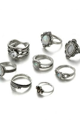 Antique Silver Ring Set Opal Oval Bohemian