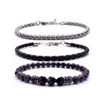 Mens Bracelet Set 3 Piece Beaded Leather Jewelry