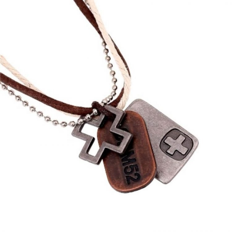 Mens Cross Tag Necklace Multiple Cord Chains