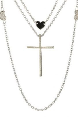 Multi Layered Necklace Silver Tone Cross Heart Charms