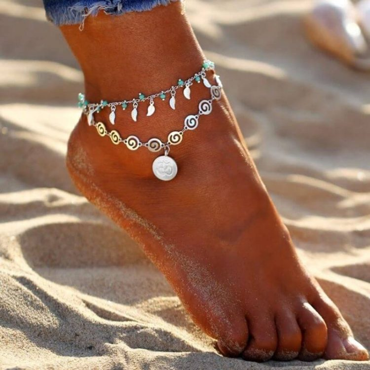 Turquoise Bead Leaf Anklet Silver Tone
