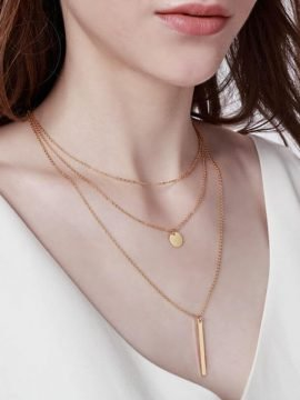 Gold Bar Necklace Layered Chain Choker