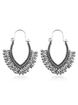 Metal Tassel Earrings Oval Design Silver Tone