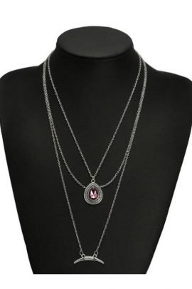 Boho Layered Necklace Silver Tone Link Chain