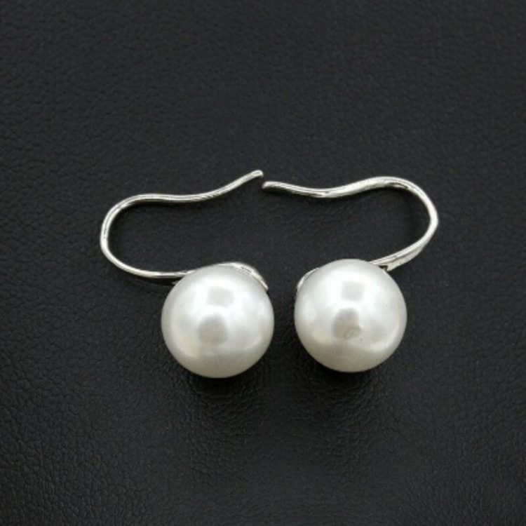 Pearl Stud Earrings Silver Tone Metal