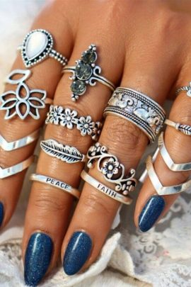 Boho Chic Rings Antique Silver Style 13-Pcs