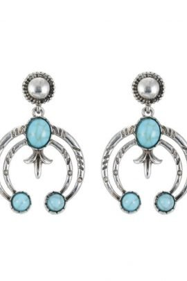 Dangle Moon Earrings With Chic Turquoise