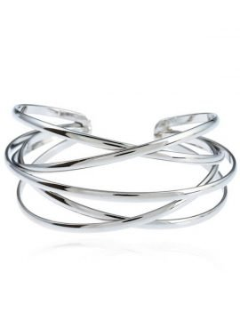 Wide Open Cuff Bracelet Crisscross Design