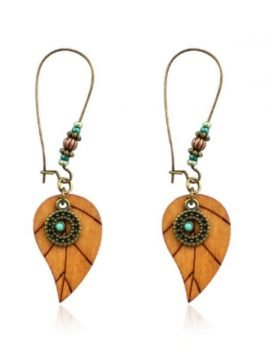 Wood Beaded Earrings Dangle Design 2