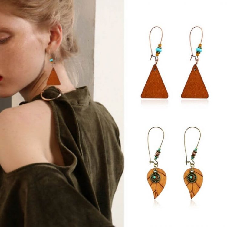 Wood Beaded Earrings Dangle Design