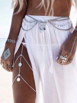 Bohemian Leg Chain Silver Tone Body Jewelry