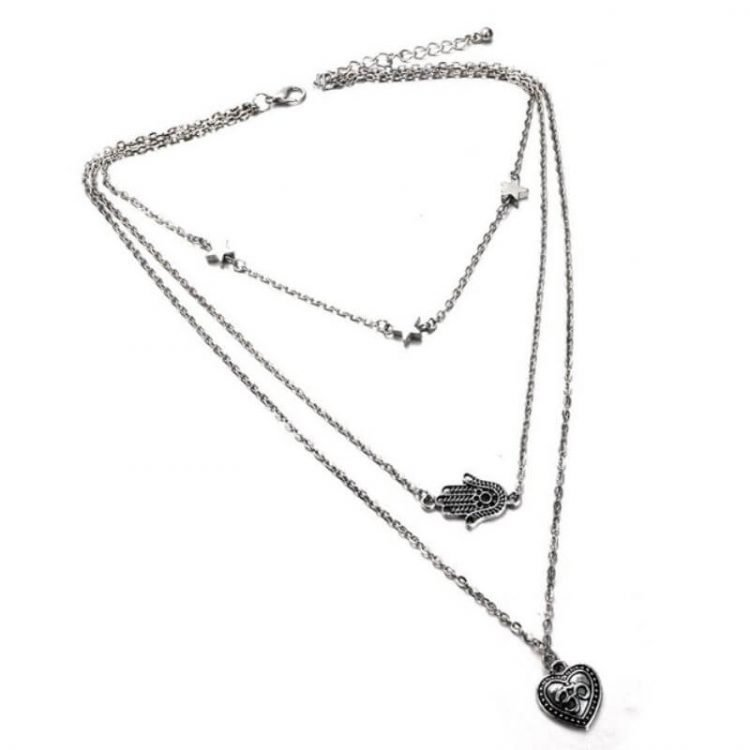 Dangling Charms Layered Necklace Silver Tone