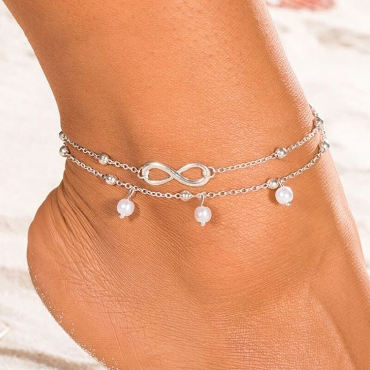 Infinity Ankle Bracelet Silver Tone Chain