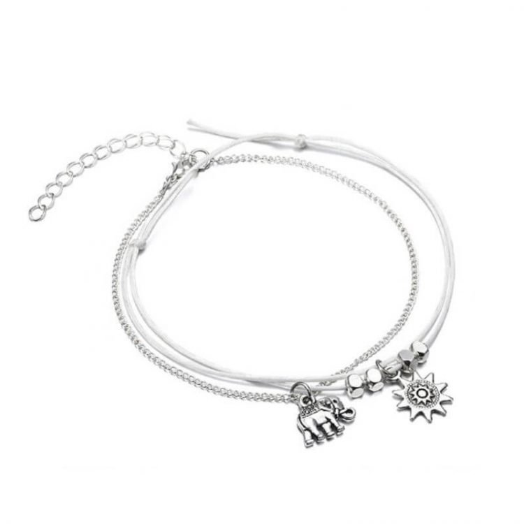 Metal Beaded Anklets 2 Pc Silver Tone