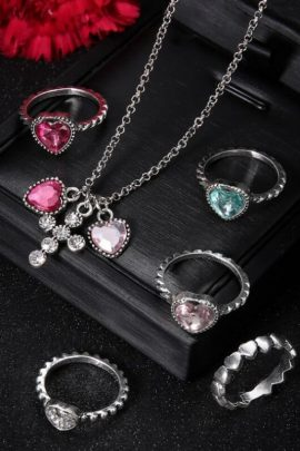 Silver Tone Pendant Necklace Ring Set