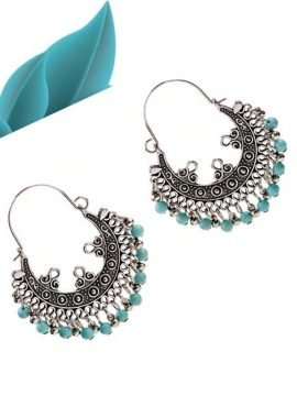 Bohemian Blue Beaded Hoop Earrings