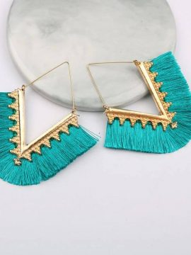 Gold Tone Fan Tassel Earrings