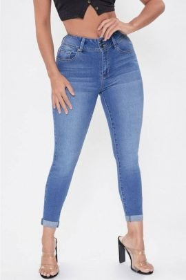 2 Button High Rise Ankle Jeans 1