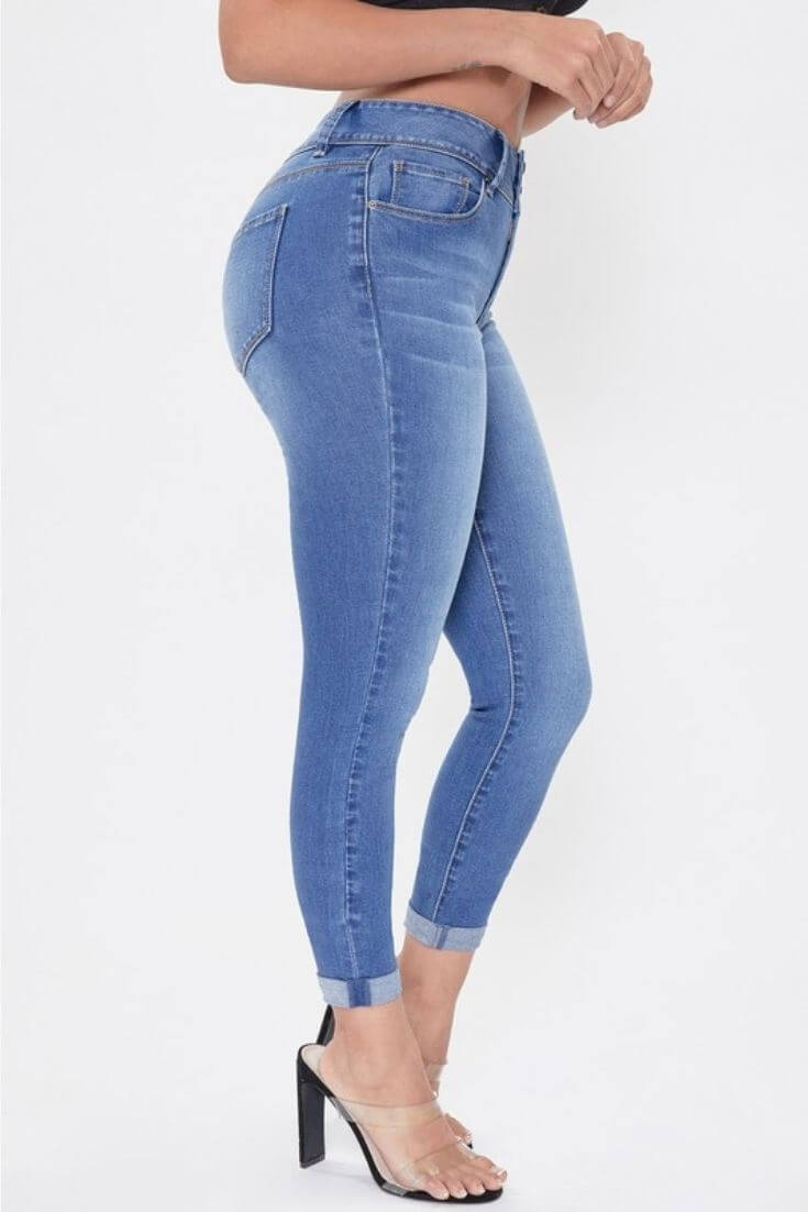2 Button High Rise Ankle Jeans