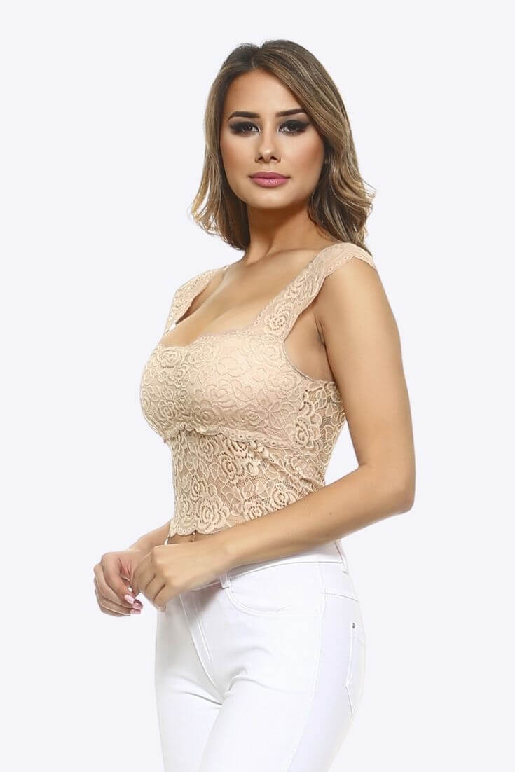 Lace Crop Top Bralette Taupe Square Neck