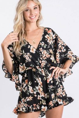 Playful Style Floral Printed Ruffle Romper Black