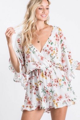 Playful Style Floral Ruffle Romper White