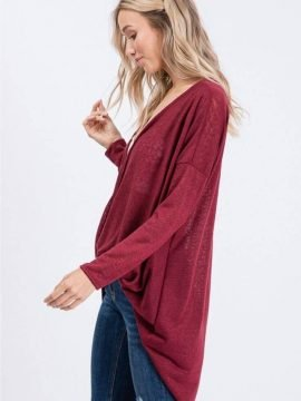 Twist Front Top High Low Hem Style