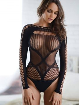 Long Sleeve Fishnet Bodysuit Black