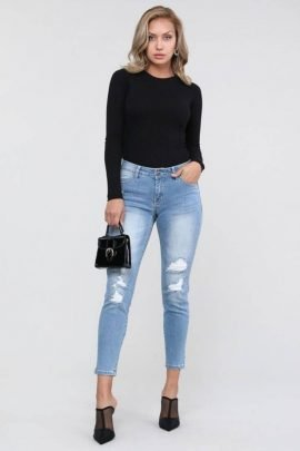 Mid Rise Distressed Skinny Jeans