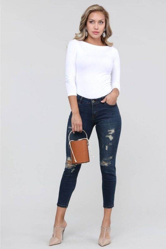 Mid Rise Ripped Stretch Skinny Jeans