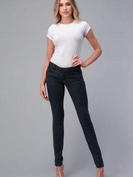 Mid Rise Skinny Jeans Charcoal Non-Distressed