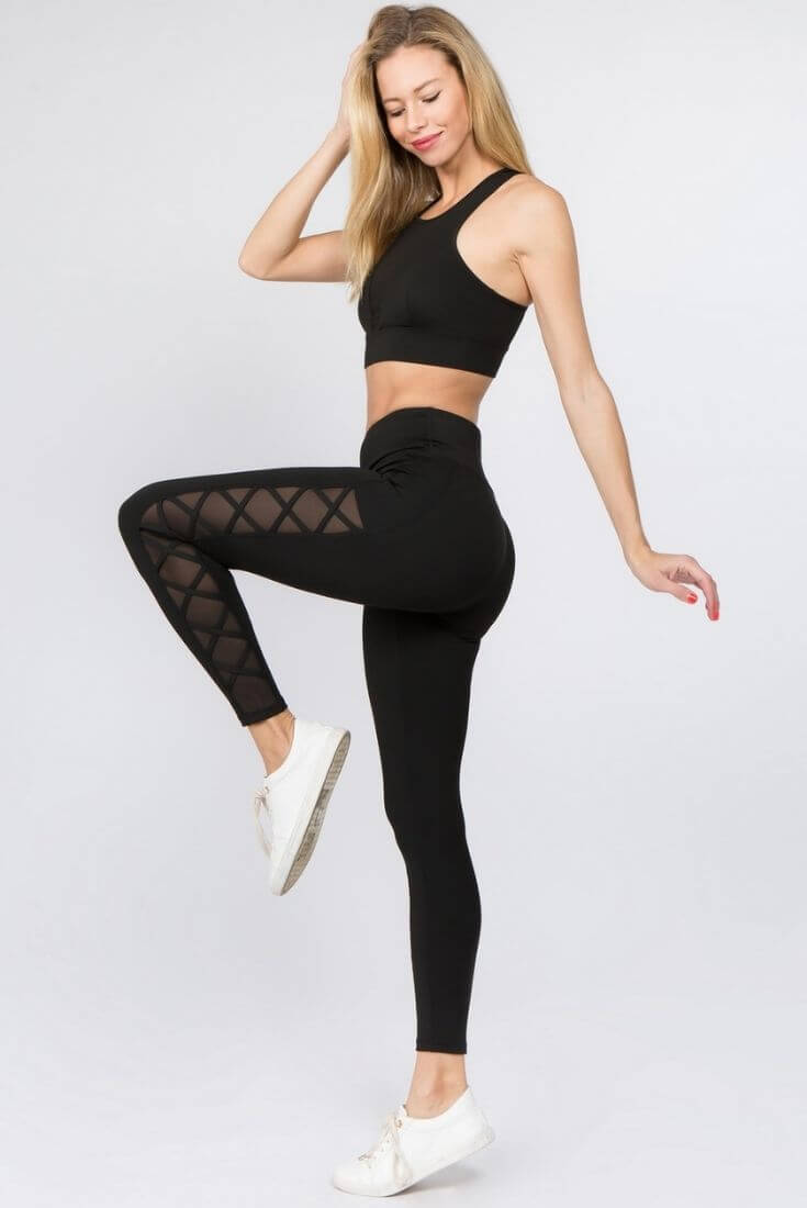 Side Mesh Workout Leggings Black