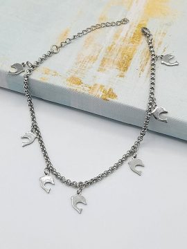 Dolphin Charm Anklet Silver Tone 1