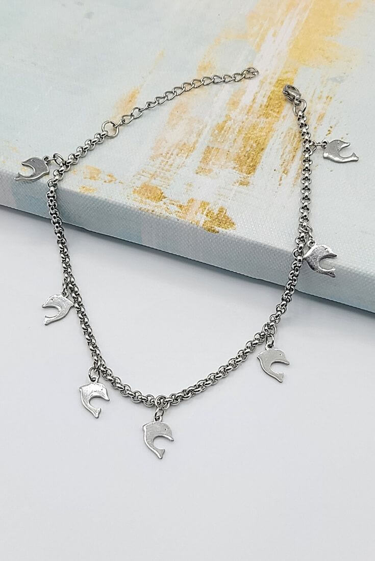 Dolphin Charm Anklet Silver Tone
